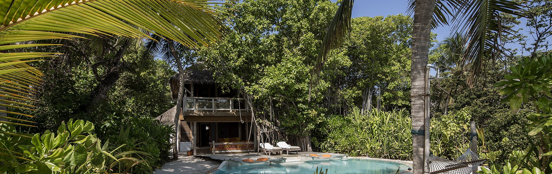 Soneva Fushi Malediven, Villa 16 im Dschungel, mit privatem Pool