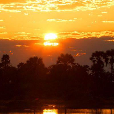 Sonnenuntergang Botswana Beispielbild Mondfinsternis