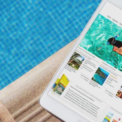 Ipad am pool mit www.trauminselreisen.de auf dem Bild