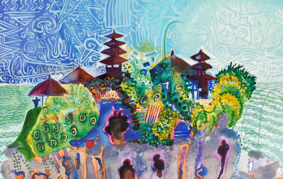 Siebdruck von Sir Michael Adams. Eine Abstrahierte Darstellung einer Tempel und Dschungellandschaft auf Bali. Titel: Bali 1