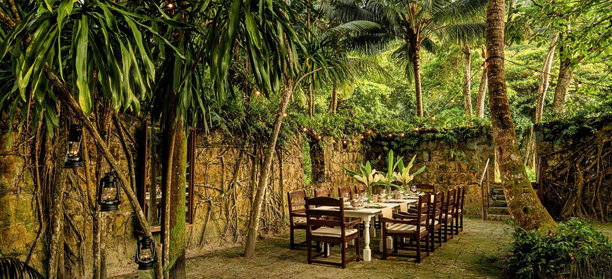 Gedeckter Esstisch im Hotel Four Seasons Resort Seychelles umgeben von tropischem Grün und Urwald
