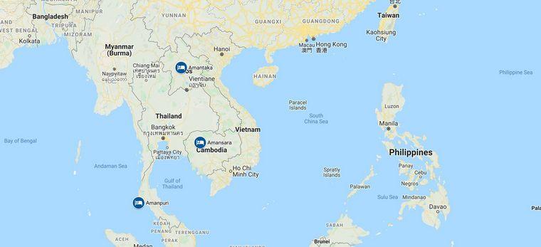 """Eine Karte von Südostasien mit den Hotels der Rundreise """"Laos-Kambodscha-Thailand Tailor-Made"""" von Trauminsel Reisen"""