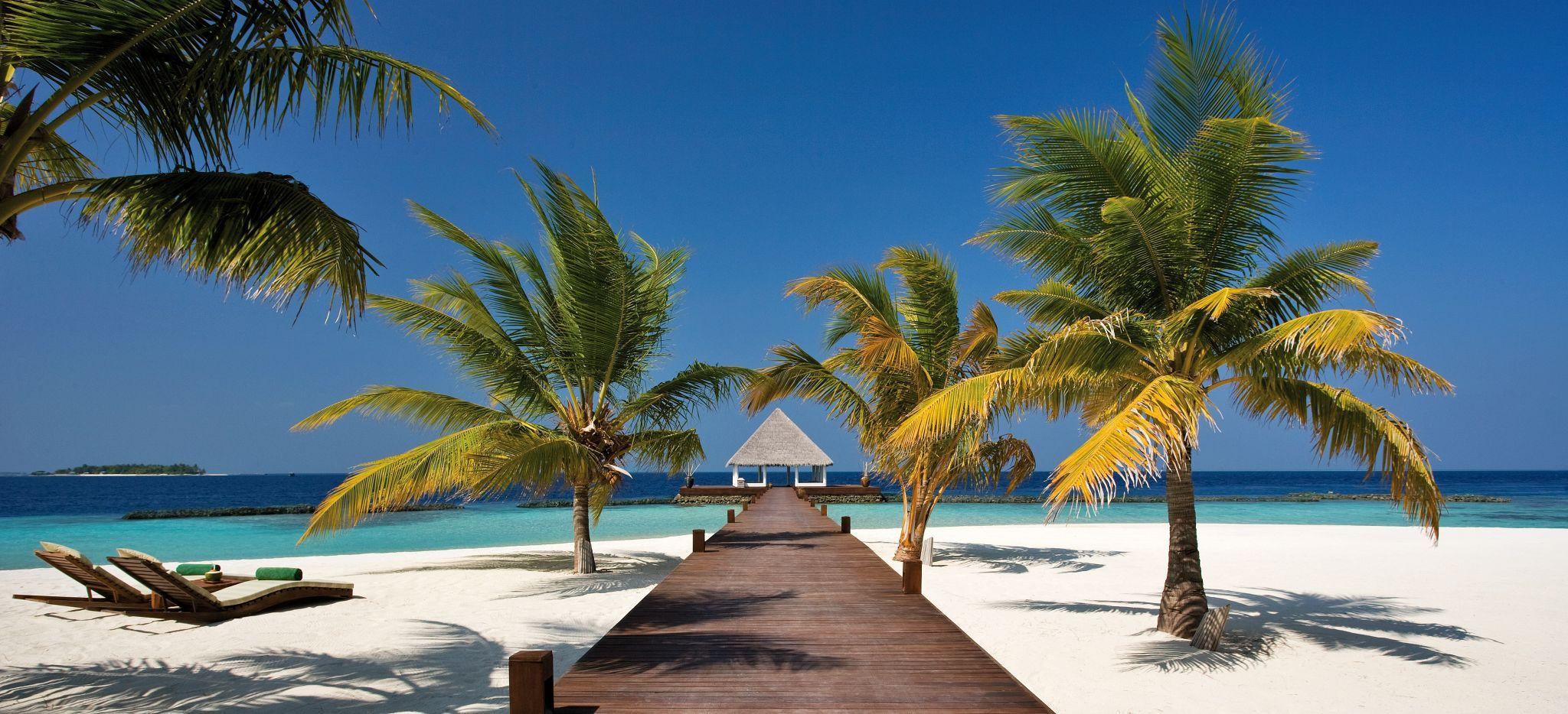 Ein palmenumsäumter Steg auf Strand und über der Lagune der Malediveninsel Coco Palm Bodu Hithi