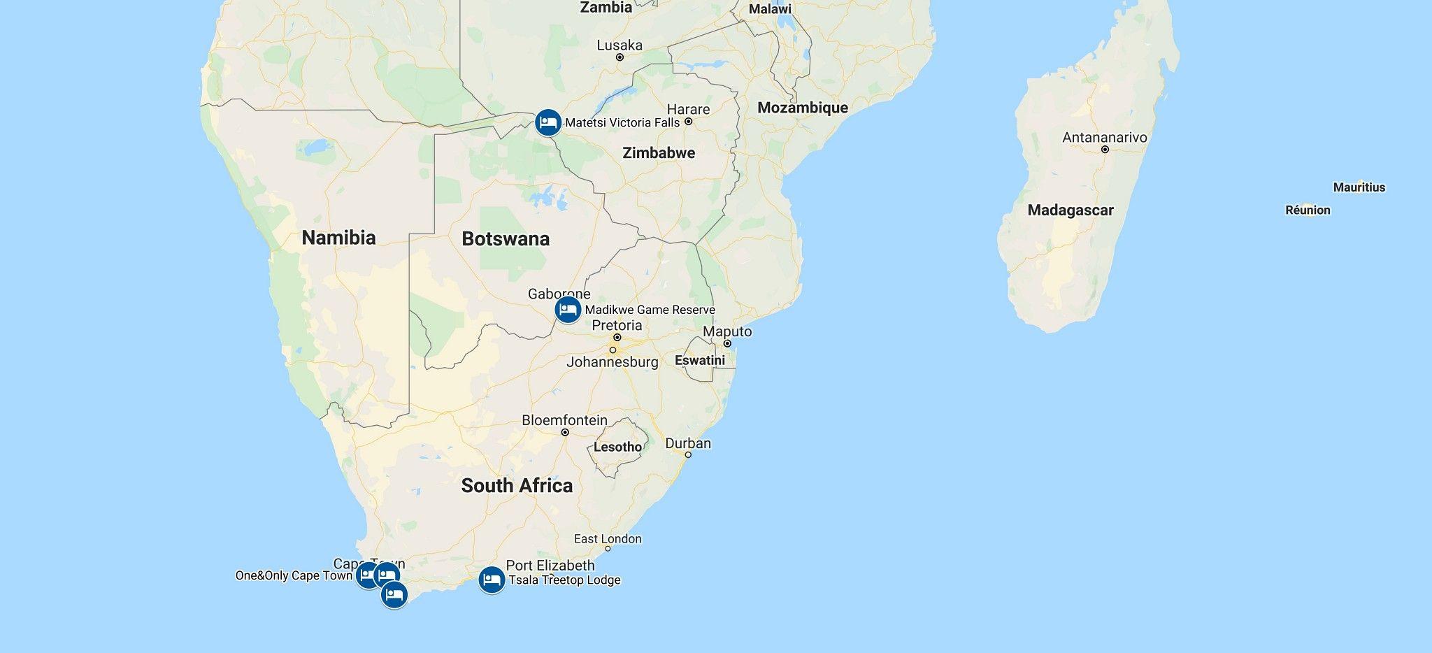 Karte einer Rundreise durch Südafrika und Simbabwe