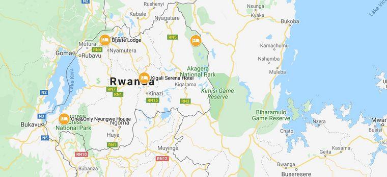 Karte der Rundreise Ruanda Tailor-Made von Trauminsel Reisen