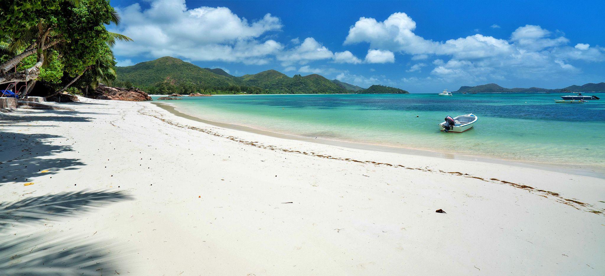Ein schneeweißer Strand, auf den Bäume schatten werfen. Der Strand des Hotel L'Archipel auf den Seychellen