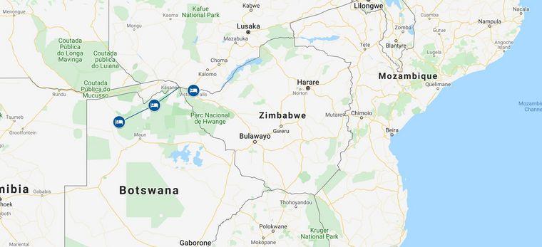 """Eine Karte der Beispielrundreise """"Botswana Tailor-Made"""" von Trauminsel Reisen"""