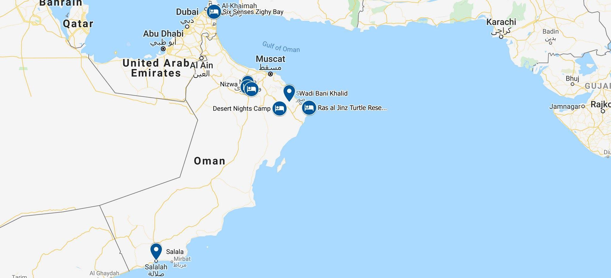 Karte einer Rundreise durch den Oman