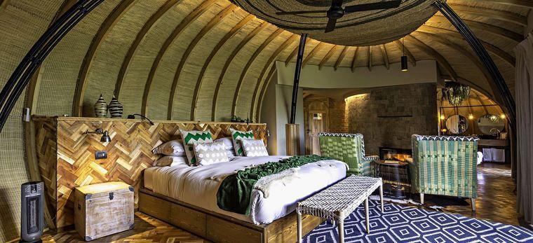 Ein Schalfzimmer der isate Lodge, Ruanda