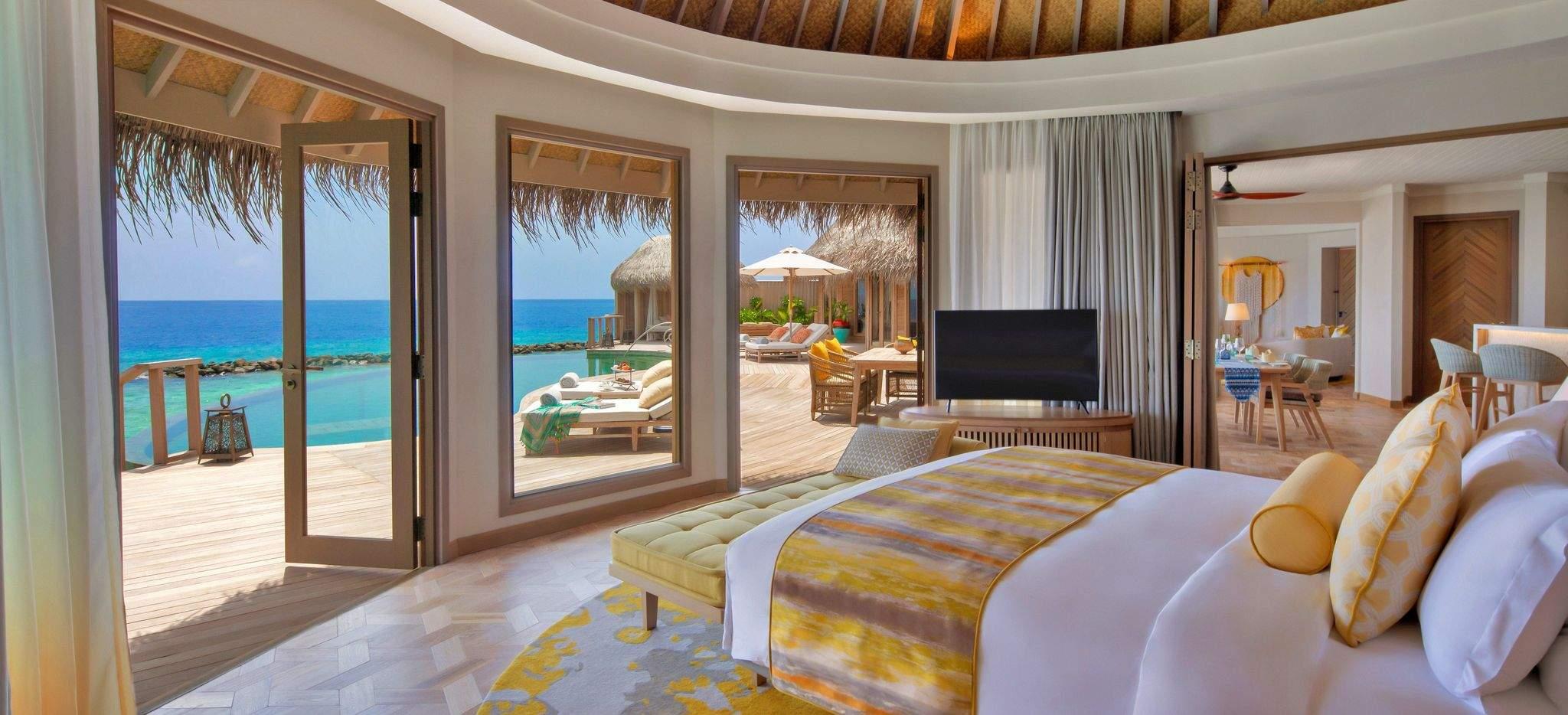 Beach Residence Blick vom Schafzimmer, im Hotel Nautilus, Malediven