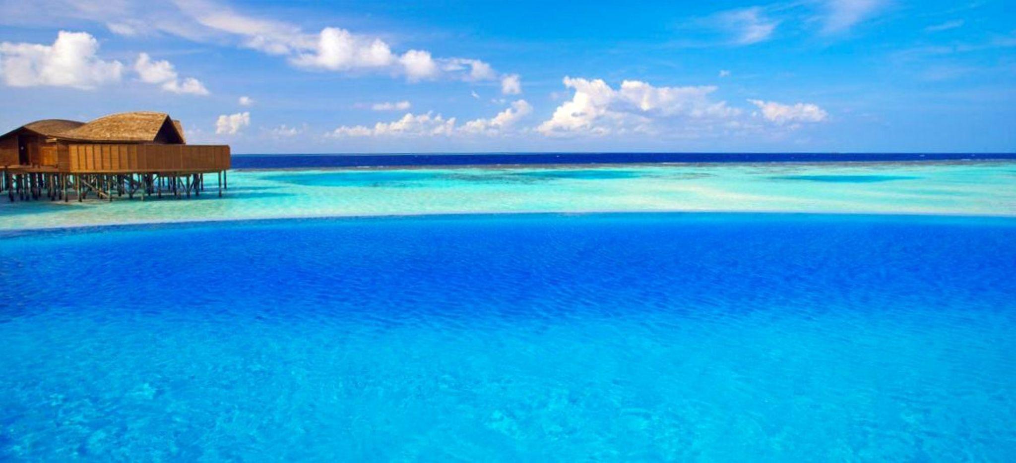 """Ein Infinity-Pool direkt am Meer, im Hitergrund eine der Waservillen des Hotels """"Lily Beach"""" auf den Malediven"""