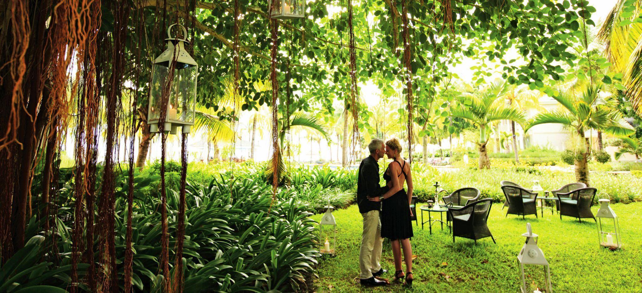 Ein paar küsste auf einer Wiese unter einem Banyan Baum