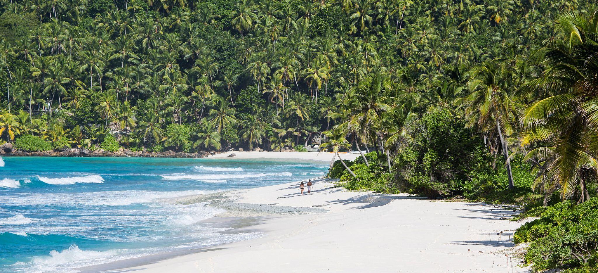 Ein weitläufiger Strand direkt zwischen Meer und üppigem Dschungel, Seychellen