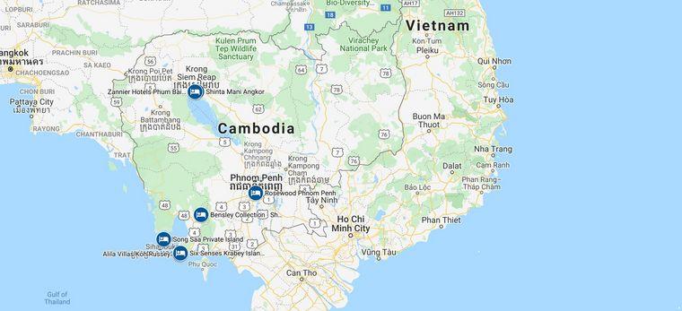 Eine Karte, in der die vorgeschlagenen Hotels einer Rundreise von Trauminsel Reisen durch Kambodscha verzeichnet sind