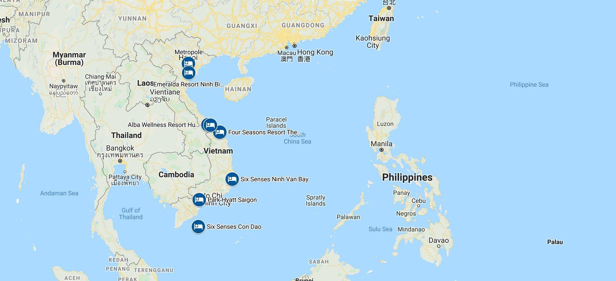 Karte einer Rundreise durch Vietnam