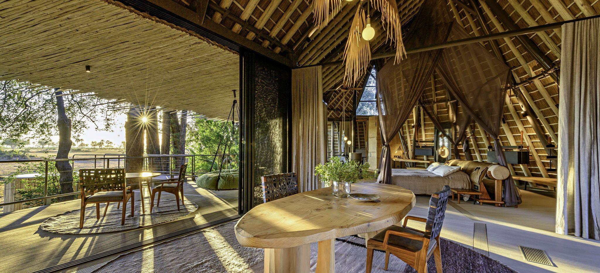 Ein Hotelzimmer im Jao Camp, Botsuana