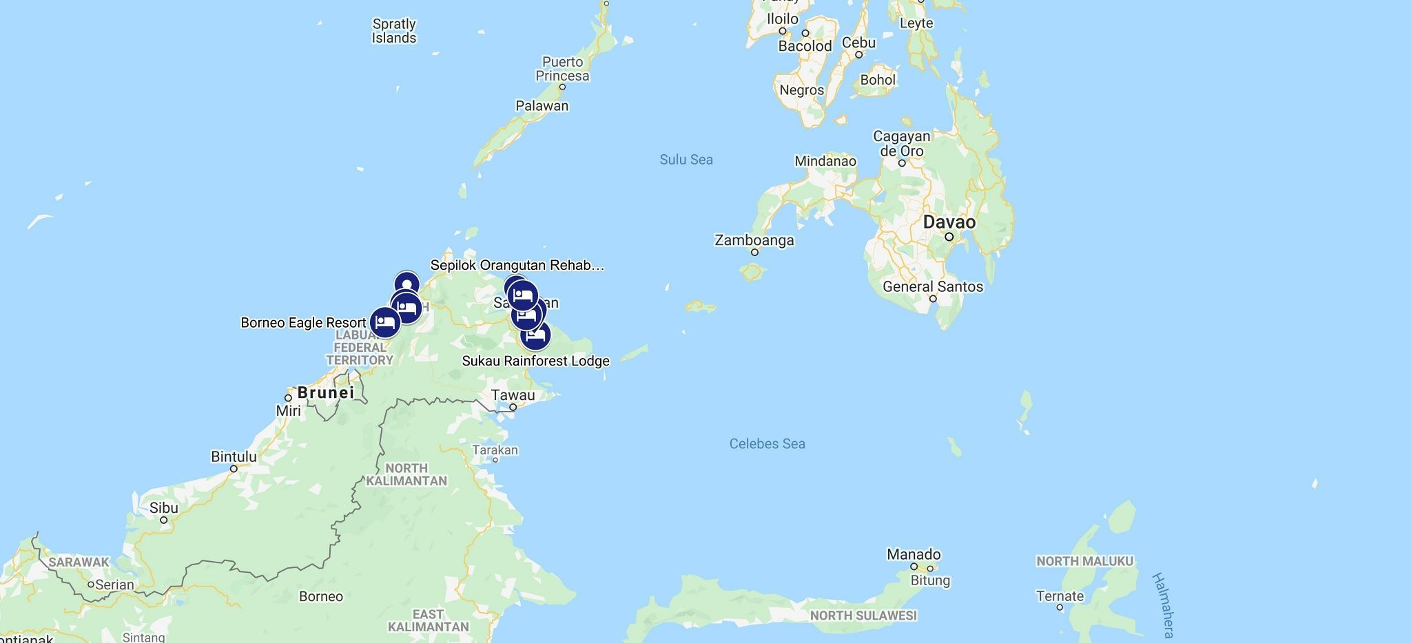 Karte einer Rundreise durch Borneo mit Trauminsel Reisen