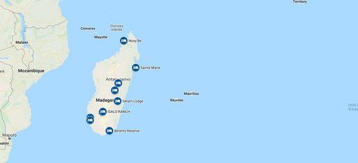 """Karte der Beispiel-Rundreise """"Madagaskar Tailor-Made"""" von Trauminsel Reisen"""