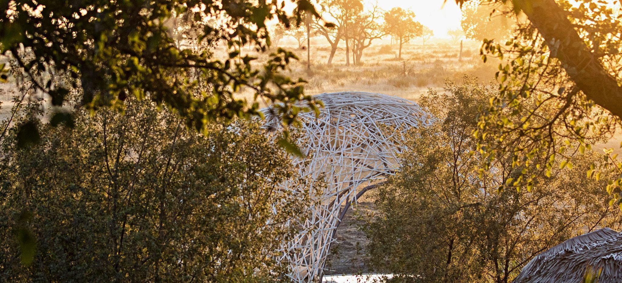 Blick über den Hauptbereich in das Okavango Becken, Jao Camp, Botsuana
