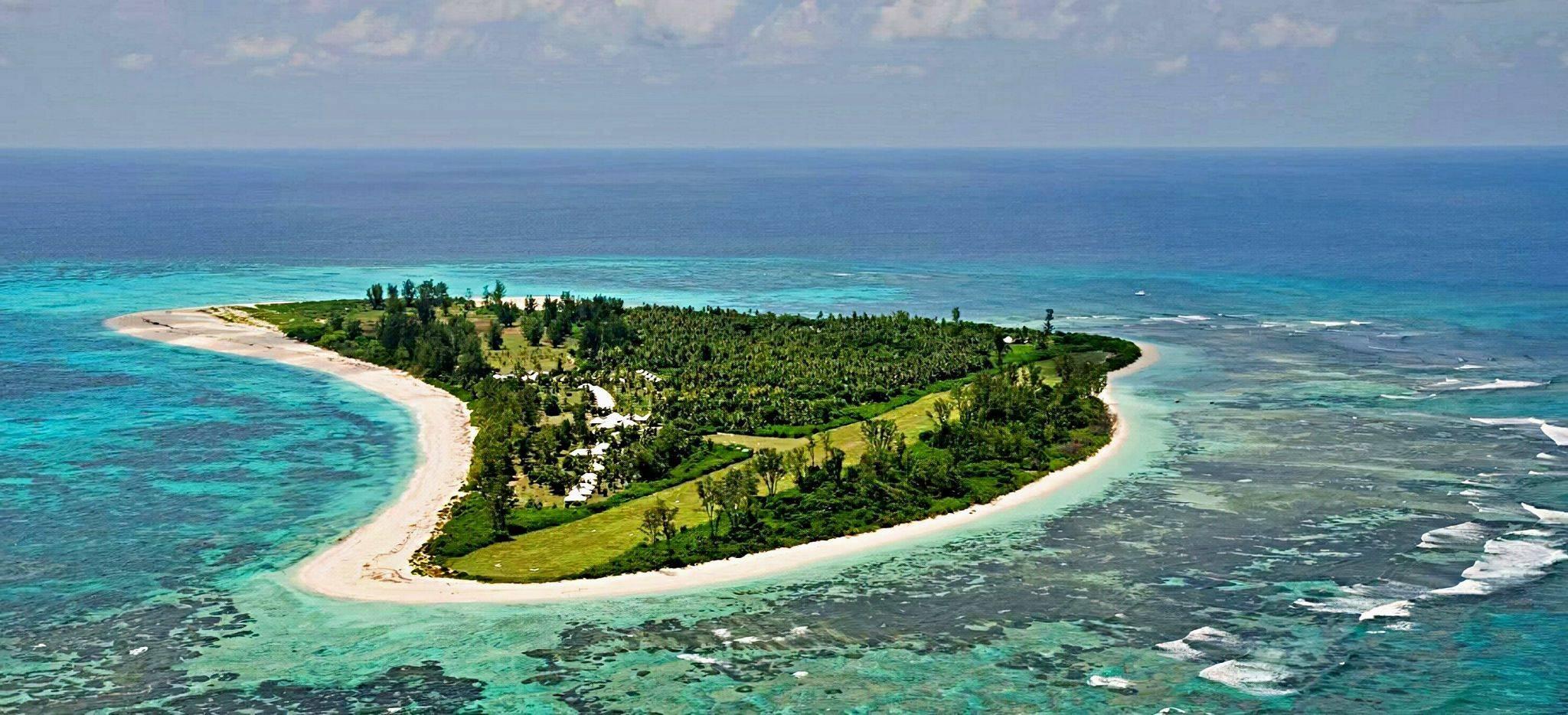 Luftaufnahme von Bird Island, Seychellen