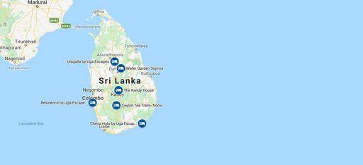 Karte einer Rundreise durch Sri Lanka