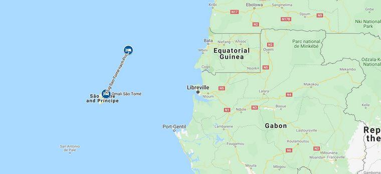 Karte einer Rundreise durch Sao Tomé und Principé
