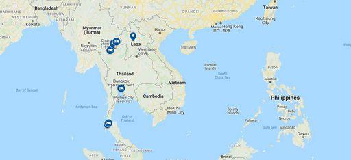 Karte einer Rundreise durch Thailand