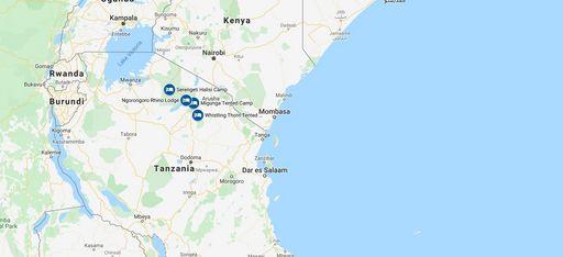 Karte einer Rundreise durch Tansania