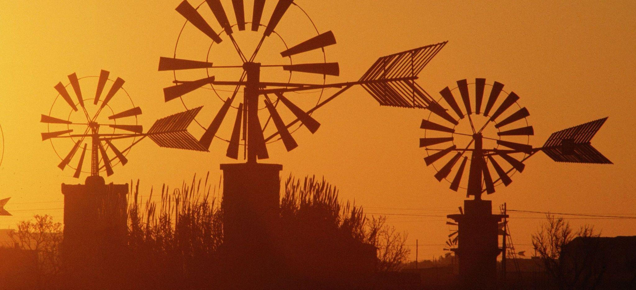 Windmühlen im Abendrot auf der spanischen Insel Mallorca