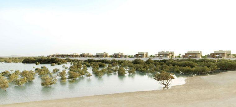 Mangrovenwald in einer Lagune vor dem Hotel Anantara Al Yamm