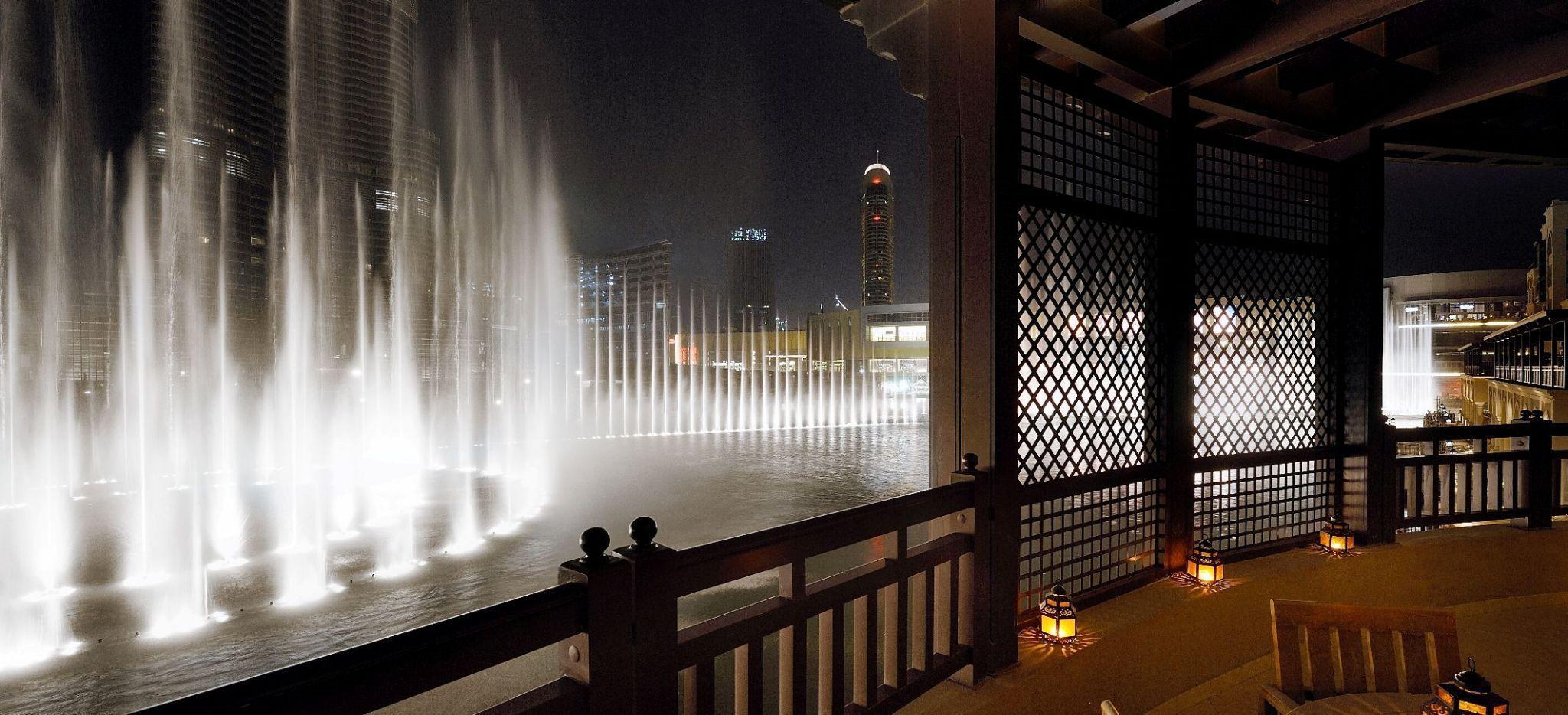 """""""Dubai Fountains"""", vom Balkon der """"Royal Suite"""" aus gesehen"""