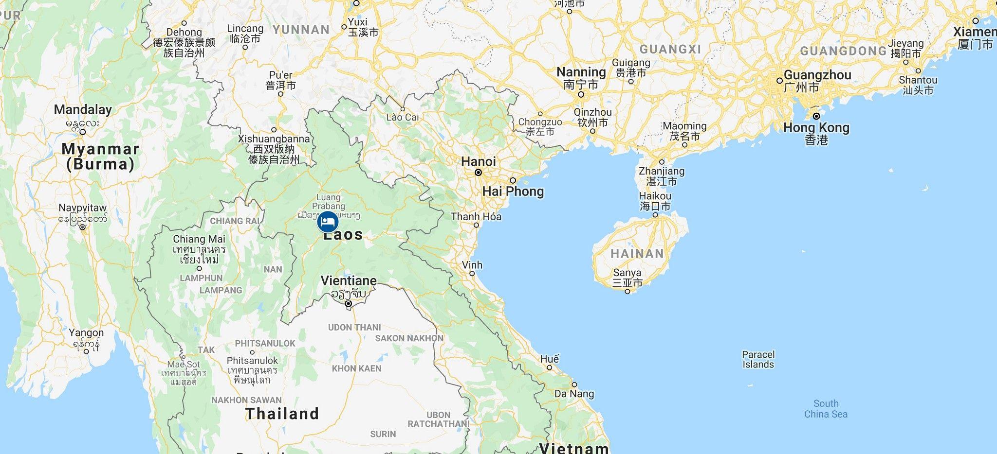 """Karte der individuellen Beispiel-Rundreise """"Laos Tailor-Made"""" von Trauminsel Reisen"""