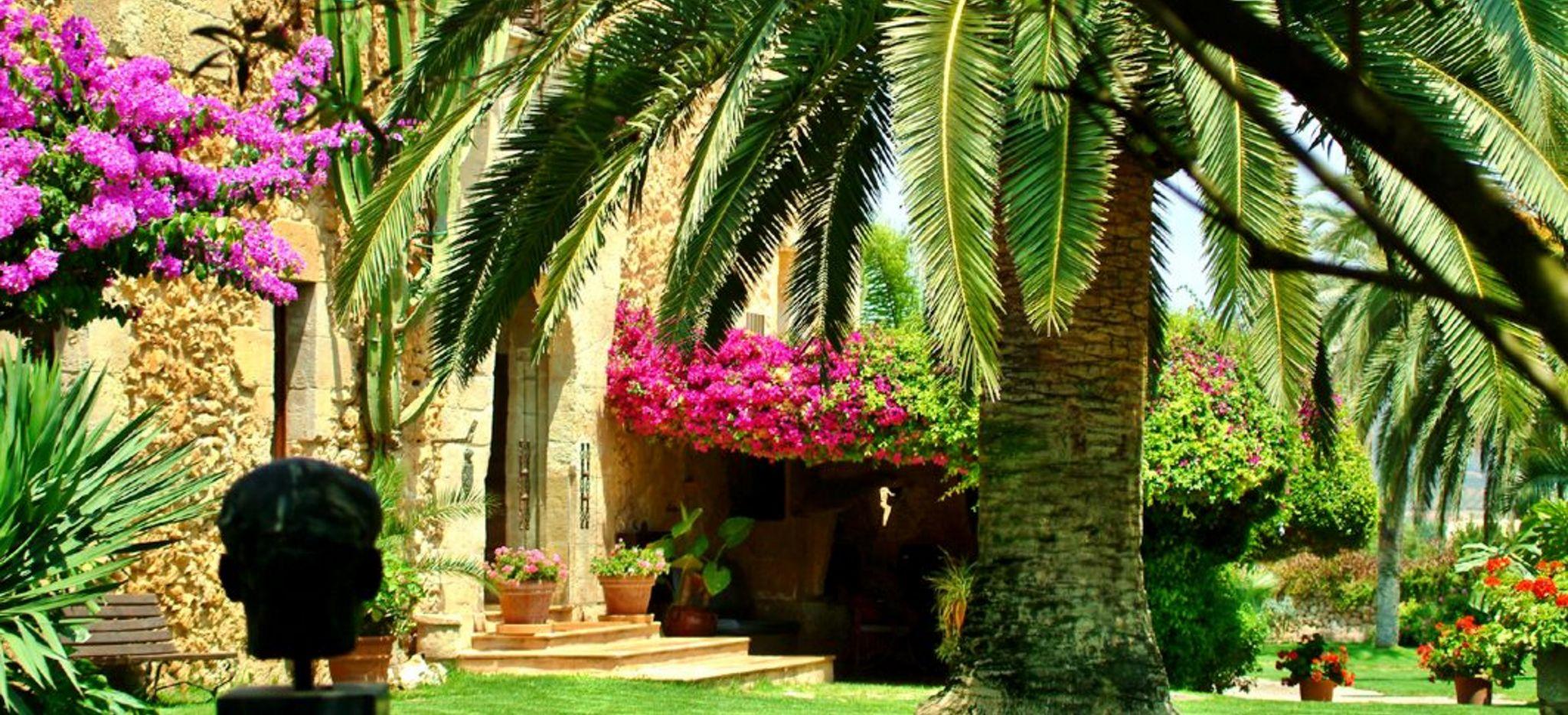 Ein Garten mit Palmen, Bouganivillea und einem traditionellen mallorquinischen Haus