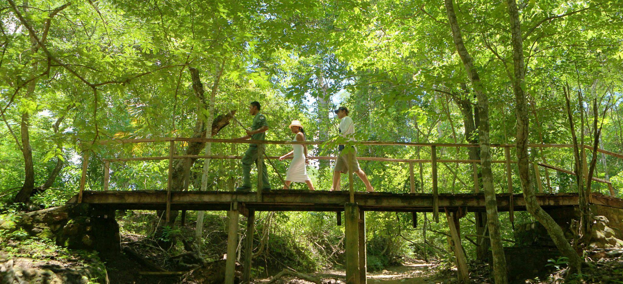 Touristen überqueren eine Brücke über ein Flussbett im Indonesischen Dschungel