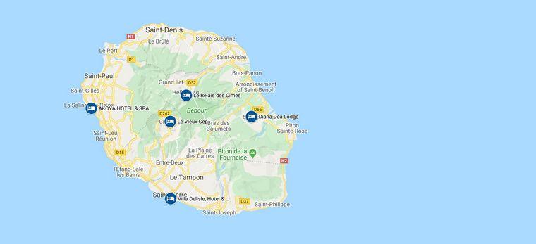 """Eine Karte mit Hotels und Autostrecken des Rundreise-Beispiels """"La Réunion Taylor-Made"""" von Trauminselreisen"""