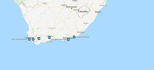 Karte einer Rundreise durch Südafrika
